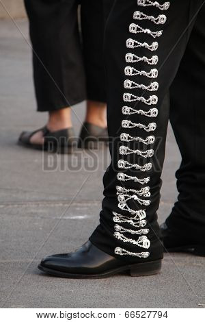 Details from a mariachi's dress