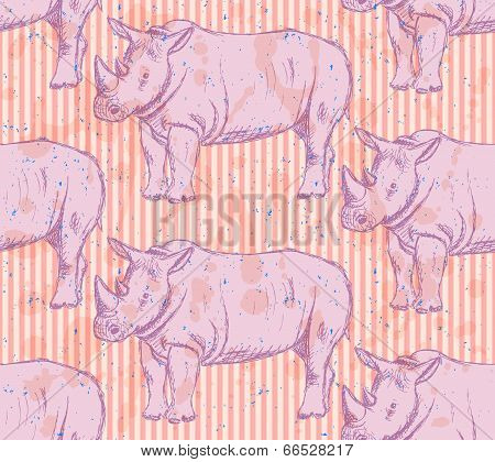 Sketch Wild Rhino, Vector Seamless Pattern
