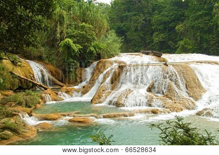 Aqua Azul waterfall near Palenque in Mexico