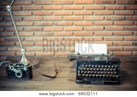 Old Camera And Typewriter In Vintage Style