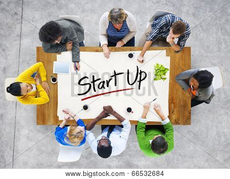 Multi-Ethnic Group of People and Startup Business Concept