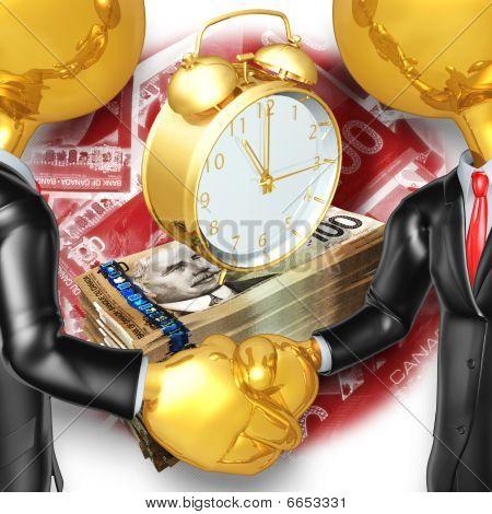 Gold Guys Business Handshake