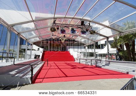 Stair Covered With The Red Carpet, Cannes