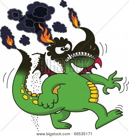 Green dragon walking angrily while burning