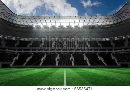 Digitally generated large farge football stadium with empty stands