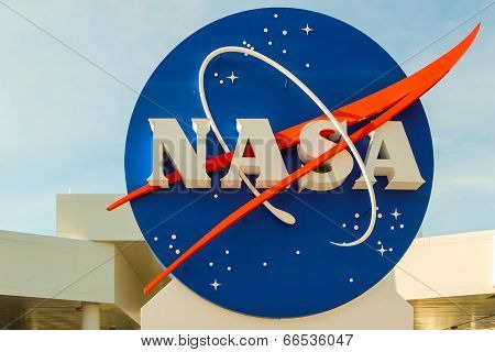 Nasa Sign At The Kennedy Space Center In Florida