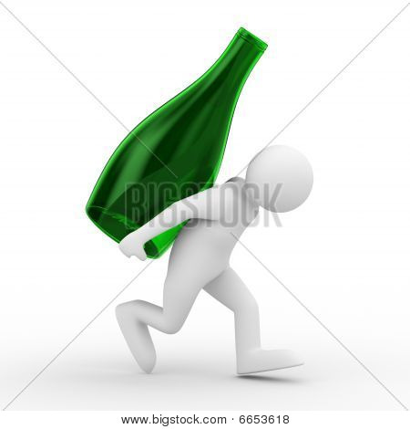 Men Carry Bottle On Back. Isolated 3D Image
