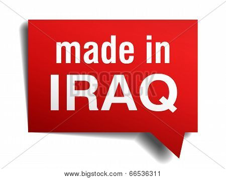 Made In Iraq Red  3D Realistic Speech Bubble Isolated On White Background