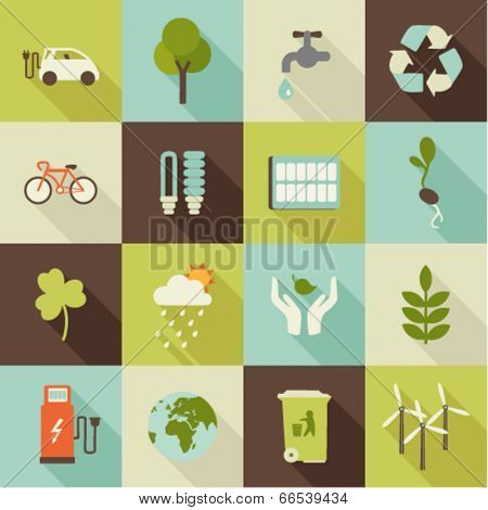 set of flat ecology icons with shadows