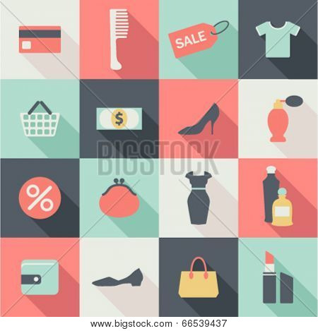set of flat shopping icons with shadows