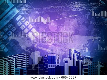 Skyscrapers with background of objects and graphs