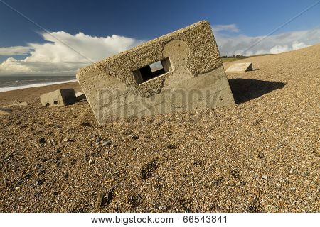 World War Two Pillbox Sinking Into Pebbled Beach, Chesil Bank