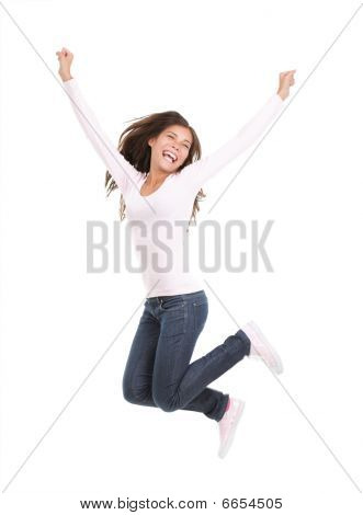 Happy Woman Jumping Isolated