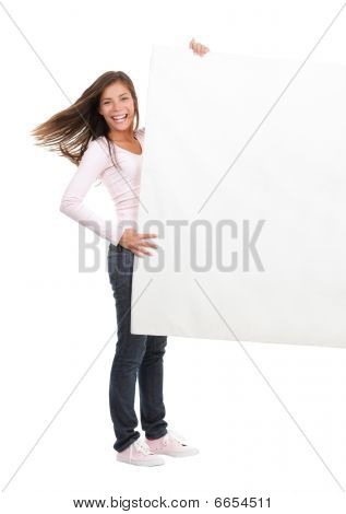 Woman Holding Blank Billboard Sign