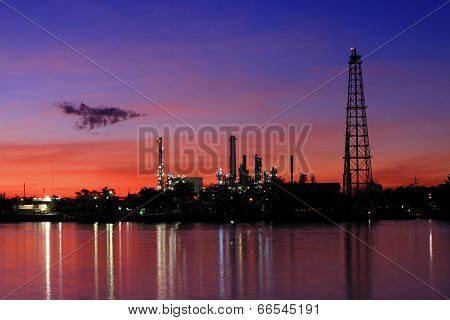 Oil Refinery At Twilight, Thailand