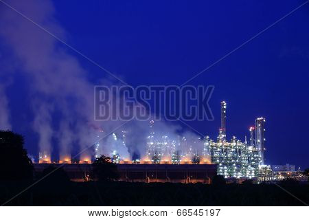 Industrial Petrochemical  Landscape At Night