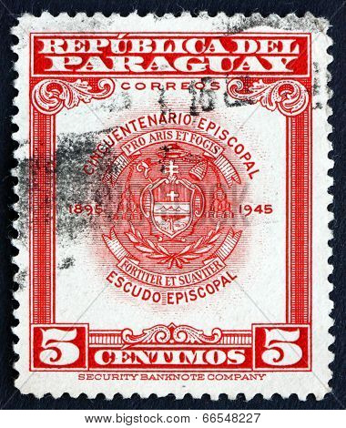 Postage Stamp Paraguay 1948 Archbishopric Coat Of Arms, Asuncion