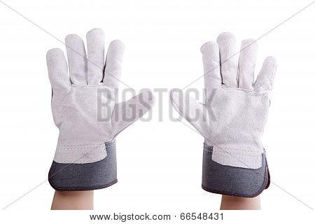 Worker Wearing Leather Work Gloves