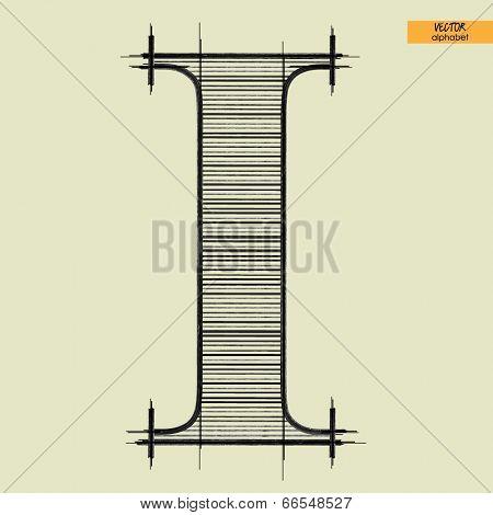 art simple alphabet in vector, classical black handmade font, letter I