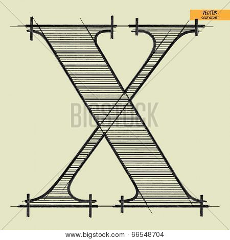 art simple alphabet in vector, classical black handmade font, letter X