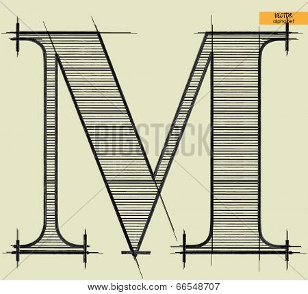 art simple alphabet in vector, classical black handmade font, letter M