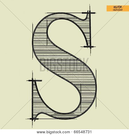 art simple alphabet in vector, classical black handmade font, letter S