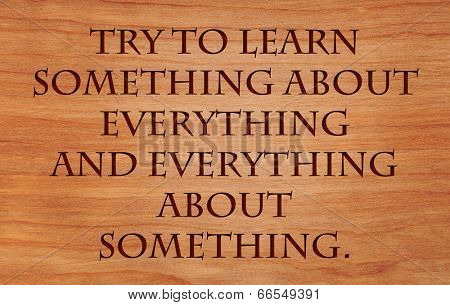 Try to learn something about everything and everything about something - quote on wooden red oak background