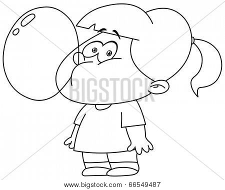 Outlined little girl blowing bubble from gum. Vector illustration coloring page