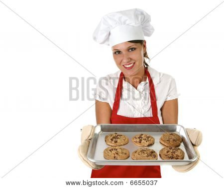 Woman Baking Chocolate Chip Cookies For Her Family