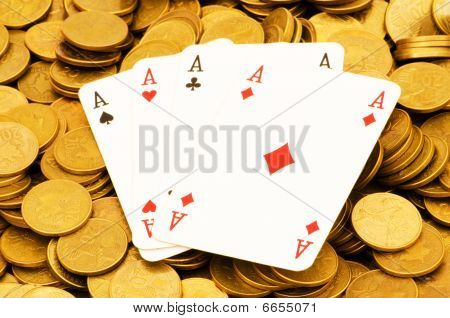 Four Aces And Lots Of Gold Coins