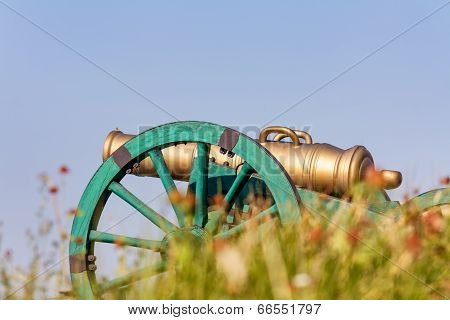 The Old Fashioned Cannon On A Hill