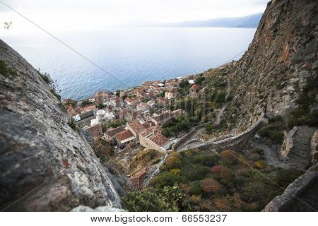 Monemvasia - view of the lower town, Greece.