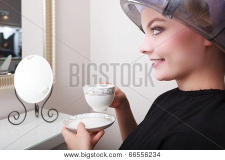 Woman Hair Rollers Curlers Drinking Coffee Tea Hairdryer Beauty Salon