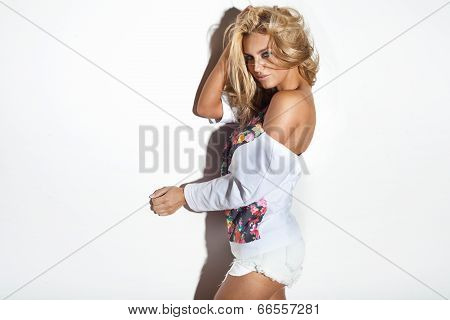Attractive Blonde Woman Posing