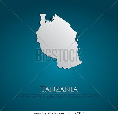 vector Tanzania Map card paper on blue background, high detailed