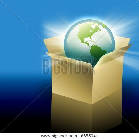 Earth in Shipping Delivery Box