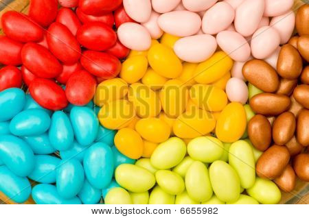 Chocolate eggs of various colors