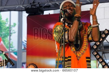 Band of Kara Sylla Ka performs on stage in the Dalian music festival..