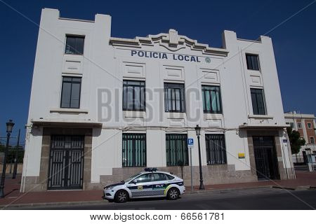 VALENCIA, SPAIN - JUNE 10, 2014: Policia Municipal (also known as Policia Local) in Valencia.  In Spain, every town and city of 5,000 or more people have a Policia Local.