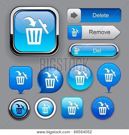 Dustbin blue design elements for website or app. Vector eps10.