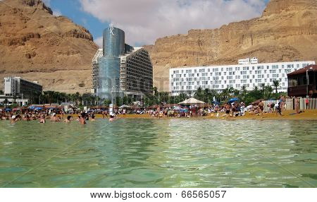 Tourists Bathe In The Dead Sea, Israel