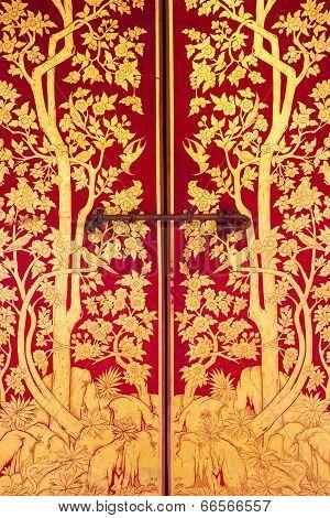 Beautiful Thai Art On The Door Of Thai Temple