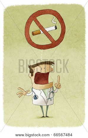 Doctor prohibiting smoking