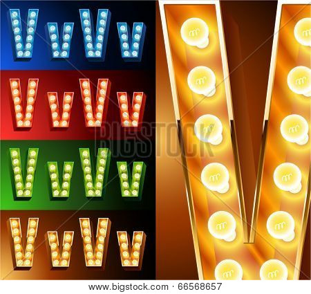 Ultimate realistic lamp board alphabet. Condensed style. Left and right options. Multicolored. Letter v