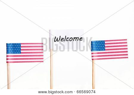 White Welcome Flag