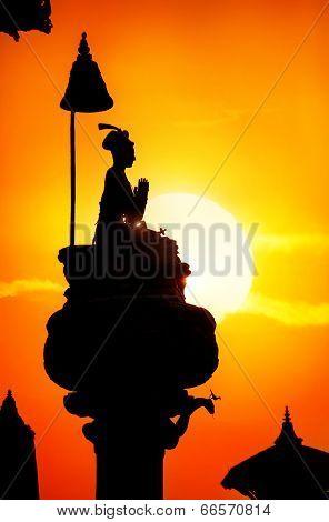King Column Silhouette In Bhaktapur
