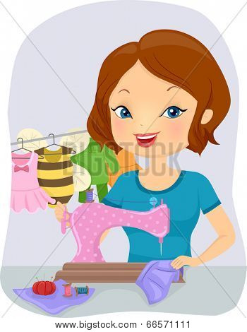 Illustration of a Pretty Woman Sewing Baby Costumes