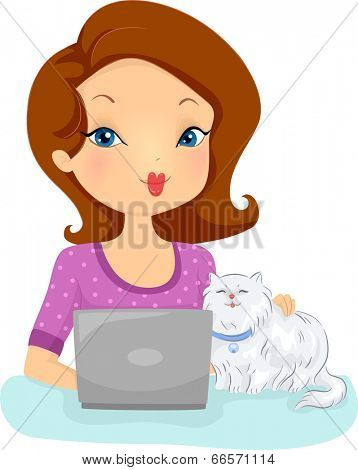 Illustration of a Woman Checking the Website of a Shop That Provides Pet Services