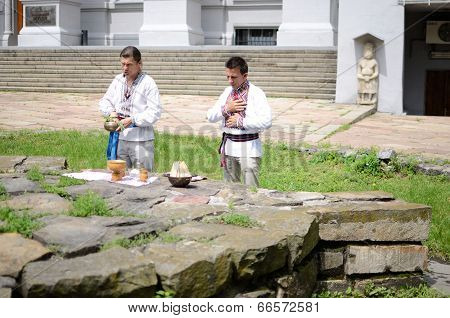 ukrainian pagan people making ritual ceremony dedicated to Perun,Ukraine