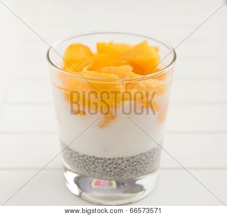 Chia Pudding with yogurt and mango